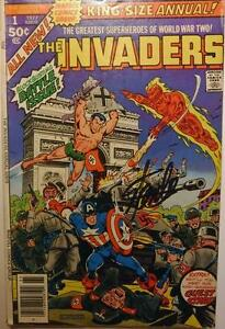 The Invaders Captain America Marvel Comic Book hand signed STAN LEE 197 7 Vol 1