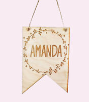 Personalised Wooden Flag Plaque Sign Name Room Decor Kids