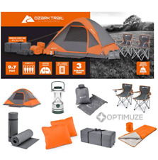 New Hiking Ozark Trail 22-Piece Camping Tent Combo