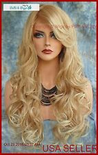 LONG CURLY HEAT SAFE SKIN TOP WIG BLONDE✯T27.613  DAZZLING HOT SEXY USA SELL 356