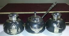 Asian/Southeast Thai Sterling Silver Niello Salt & Pepper Shaker Mustard Pot