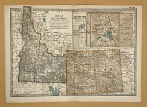 Original  Encyclopaedia Britannica Map Idaho and Wyoming from 1903 United States