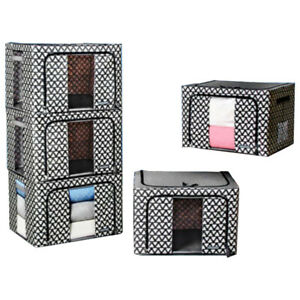 66L X 5 Oxford Cloth Steel Frame Storage Box Quilt Clothes Organizer Waterproof