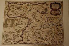 CARTINA STORICA Wertheim, Miltenberg, Freudenberg, Lauda, Luna campo 1658