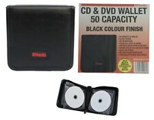CD DVD Computer Game Disc Portable Wallet Black Leather Look Holds 32 Music CDs