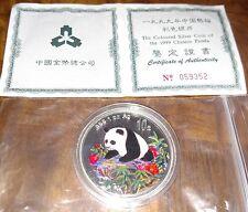 1999 COLOR COLORIZED 1 OZ PROOF SILVER PANDA 10 YUAN SILVER COIN WITH COA (PRC)
