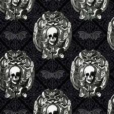 Michael Miller Gothic Skulls Gray Fabric BHY