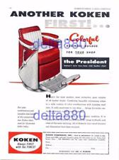 """1958 Barber Shop Full Page Color Print Ad Koken """"The President"""" Barber Chair"""