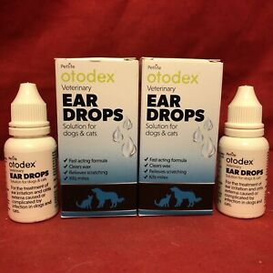 2 x Veterinary Otodex Ear Drops Dog Kills Mites Soothes Irritation Clears Wax