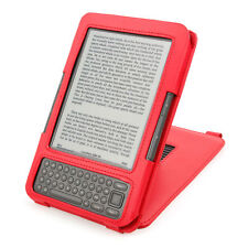 Red Leather Case/ Cover/ Sleeve With Kick-Stand For Amazon Kindle Keyboard