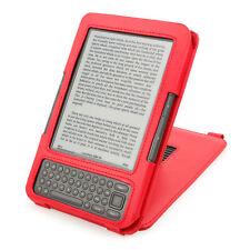 Estuche De Cuero Rojo / cubierta / Funda Con Soporte De Pie Para Amazon Kindle Teclado