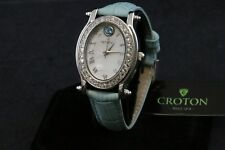 Croton Blue Leather White Crystal Accent Women's Watch CN207537TOMP NEW