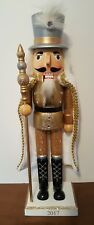 """Gold Silver King Soldier Nutcracker Wooden 15"""" Christmas Holiday Decor NEW"""