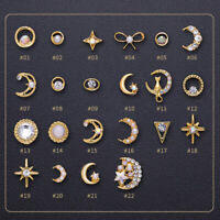 5/10Pcs Gold Rivet Studs 3D Nail Art Decoration Star Moon Shape Nail Rhinestone