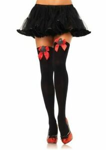 Opaque Thigh Highs with Club Applique