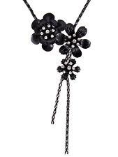 Black Chain Metal Flower Trio Crystal Rhinestone Tassel Fashion Necklace Gift