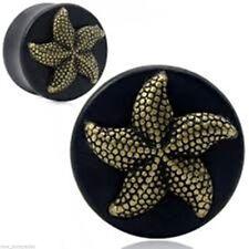 PAIR-Wood Arang w/Bronze Starfish Double Flare Ear Plugs 10mm/00 Gauge Body Jew