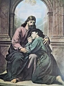 Christian Art Print The  Consoling Christ, by  German Artist Bernhard Plockhorst