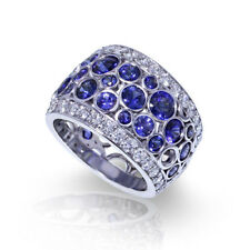 New Gorgeous 925 Silver Blue Sapphire Ring Women Engagement Wedding Band Jewelry