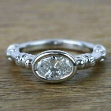 Engagement Ring 14k White Gold Plated Vintage 1.30 Ct Oval Vvs1 Moissanite Bezel