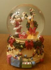 Disney Mickey Mouse and Pluto Christmas Musical Snow Globe Deck The Halls