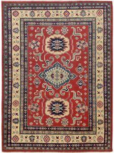 Decorative Geomertic Oriental Super Kazak Area Rug Hand-Knotted Wool Carpet 5x7