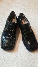 Mauri Italy Men's Black Alligator Crocodile Loafers Slip On Suit Dress Shoes 10