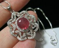 New Vintage Style Art Deco Sterling SILVER Real Ruby & Topaz Pendant NECKLACE