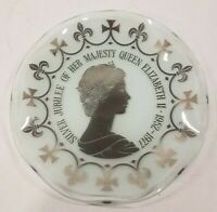 "Silver Jubilee Queen Elizabeth 4.75"" Scalloped Glass Plate - Silver Decoration"