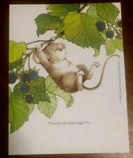 Vintage 1982 Antioch Bookplate, Gibson Greeting, little mouse on berry branch