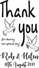 PERSONALISED THANK YOU RUBBER STAMP WEDDING CELEBRATION + FREE BLACK PAD