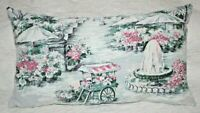 Vintage Victorian Park Flowers Cart and Fountain Cotton Barkcloth Lumbar Pillow