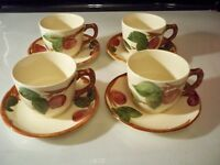 4 FRANCISCAN APPLE CUP AND SAUCER SETS HAND PAINTED