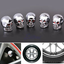 5Pc Red Eyes Evil Skull Tyre Tire Air Valve Stem Dust Caps For Car Bike Truck