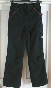 Glacier Point Girls Black with Pink Ski Trousers Salopettes Age 12 - 13