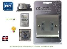 BG Electrical Brushed Stainless Steel 16a Eurosocket Shuttered Two Gang