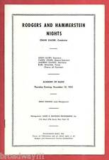 """RODGERS & HAMMERSTEIN NIGHTS"" Rare Revue 1951 Playbill"