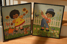 Vintage Raggedy Ann & Andy Black Americana Wall Hangings Pictures Lyn Starco Ny
