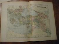 Nice Antique Map of Turkish Empire c. 1895 Johnston