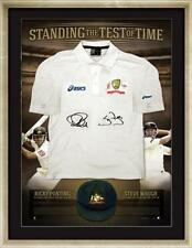 Ricky Ponting and Steve Waugh Signed Test Shirt Standing the Test of Time Framed