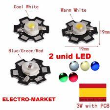 2 unid LED  de 1- 3W Blanco Frio/ calido/rojo/verde/azul con disipador estrella