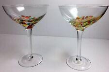 2 Hand Blown Multi-colored Confetti Martini Margarita Cocktail glasses