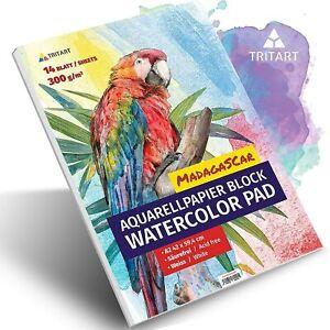 Profi Aquarellpapier 300g, Din A2, Weiß, 14 Blatt | Aquarellblock von Tritart