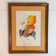 Framed Painting of A Bear Eating Honey With A Bee - By Ruth Emerson - SIGNED