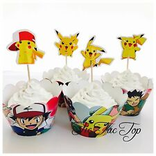 12 Pikachu Pokemon Go Cupcake Topper + 12 Wrapper. Party Supplies Lolly Loot Bag