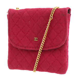 CHANEL Quilted Mini Chain Shoulder Pouch Pink Cotton France Vintage Auth #AD550