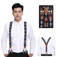 Pop Mens Suspender Y Style Sock Shirt Gaiter 3 Clip Braces Pure Color Adult Belt