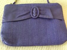 Small Purple Shoulder Purse With Leather Details 2 Compartments Removable Strap
