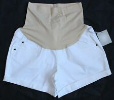 a:glow Womens Maternity White Size 12 Cuffed Full Belly Panel Jean Shorts Denim