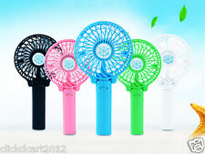 New Portable Foldable Mini Rechargeable Fan With Battery & USB Cable-Blue